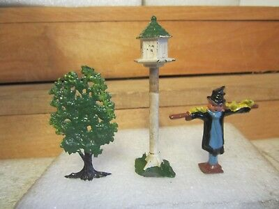 vintage lesd toys scarecrow, tree, bird house