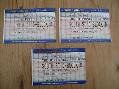 CHARLTON ATHLETIC v LIVERPOOL . 3 USED TICKET STUBS . 1st Feb 2005