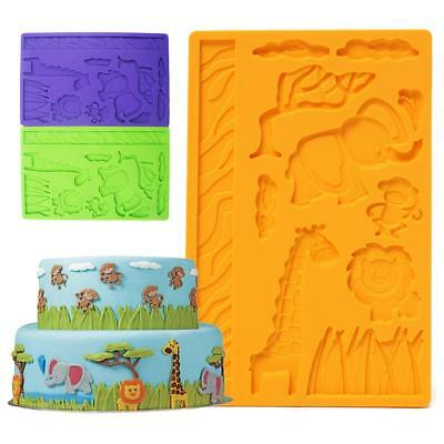 Silicone Mold Zoo Animals Monkey Giraffe Childrens Birthday Cake Cookie Mould 6A