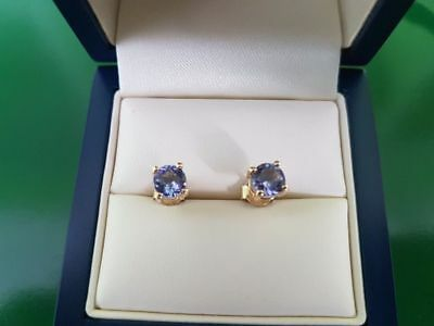 Tanzanite AA 9ct Yellow Gold Earrings