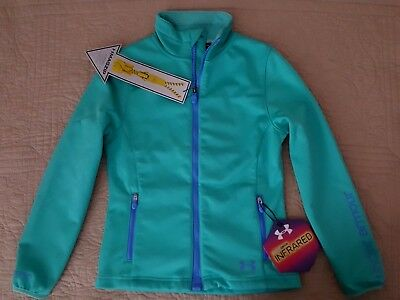 NEW $100 Under Armour Cold Gear Infrared TEAL Blue Green Full zip Jacket S 7-8