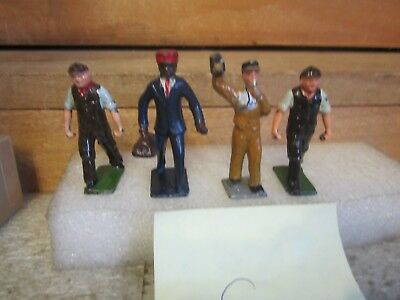 vintage lesd toys ,4 figures,  railroad men 3 white, 1 black  workers