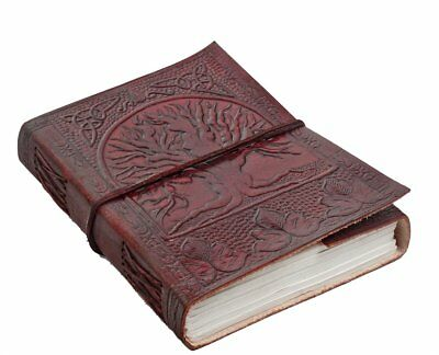 Handmade Embossed Leather Diary Journal with Tree of Life Print, Dark Camel,