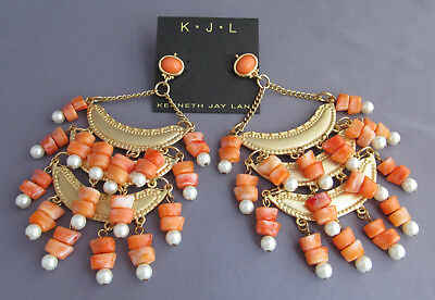 Vintage Kjl Kenneth J. Lane Huge Long Coral Pearl Tassel Dangle Runway Earrings