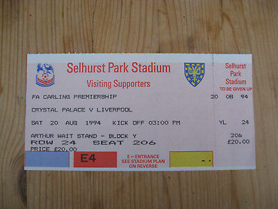 CRYSTAL PALACE v LIVERPOOL . UNUSED TICKET . SELHURST PARK 20th August 1994