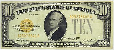 Series Of 1928 $10 Small Size Gold Certificate Fr#2400 Circulated