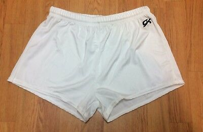 GK Elite Nylon/Spandex Gymnastics Shorts White Adult XL