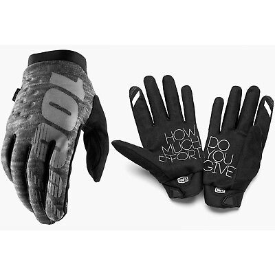 100% Brisker Cold Weather Winter Motocross Enduro Bike Gloves Heather Grey
