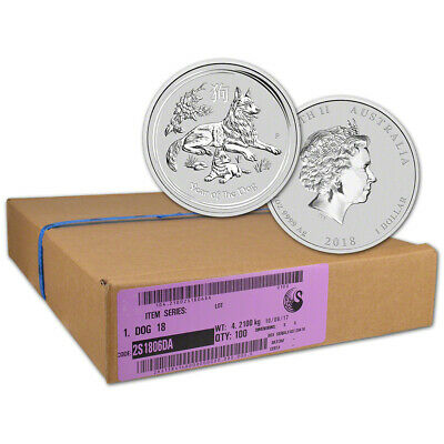 2018 P Australia Silver Lunar Year of the Dog (1 oz) $1 - 1 Box 100 BU Coins