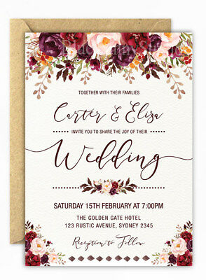 Rustic Floral Wedding Invitation Garden Party Flower Invite Boho Save the Date