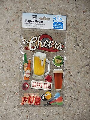 NEW Paper House 3D Stickers Cheers Happy Hour Pub Bar Beer Darts