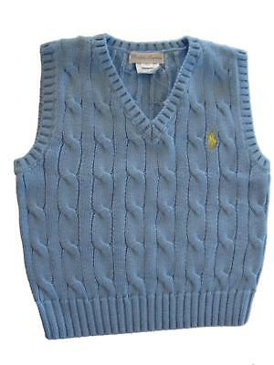 Authentic Ralph Lauren boys polo small pony cable knit tank top jumper 12,18,24m