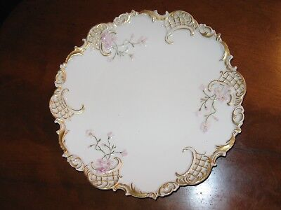 Antique Leonard Vienna Austria Hand Decorated Serving Plate With Dogwood Flowers
