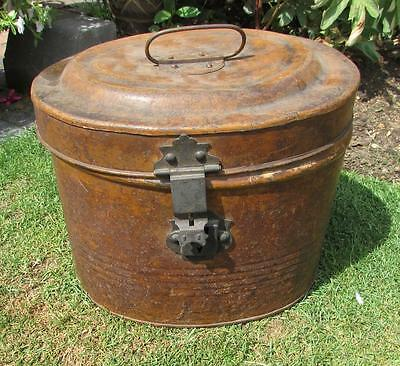 Antique Painted Metal Hat Box. Mid To Late 1800's