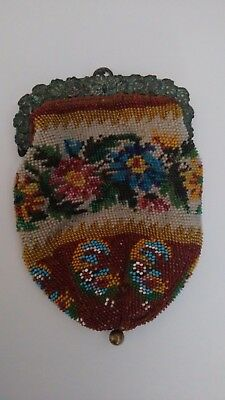 Antique French Petite Micro Beaded Purse with flowers - so sweet!