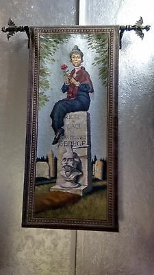 Disney Haunted Mansion Tomb Stretched Portrait Tapestry & Bat Stanchion hanger