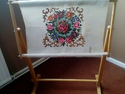 standing embroidery cross stitch tapestry frame with twilleys canvas flowers