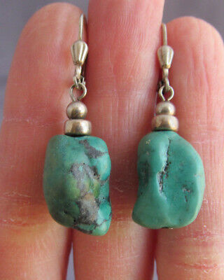 Vintage Old Pawn Sterling Spiderweb Number 8 Turquoise Dangle Pierced Earrings