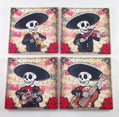 Day Of The Dead Mariachi Skeleton Ceramic Tile Beverage Coasters Set of 4