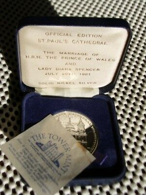 CHARLES & DIANA WEDDING 1981. Tower Mint St Paul's. Solid nickel silver. Case.