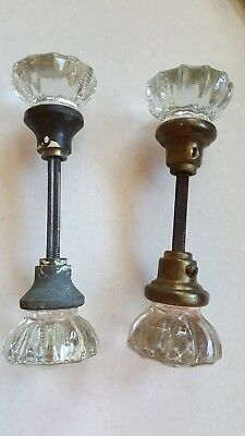 2 Pair Vintage Antique 12 Point Crystal Glass Door Knob Sets Brass With Rod
