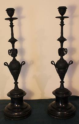 Fabulous Large Pair of Victorian Gothic Revival Spelter & Slate Candlesticks