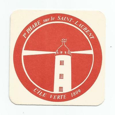 Canadian ILE VERTE QUEBEC 1809 FIRST LIGHTHOUSE ON ST LAWRENCE RIVER BAR COASTER