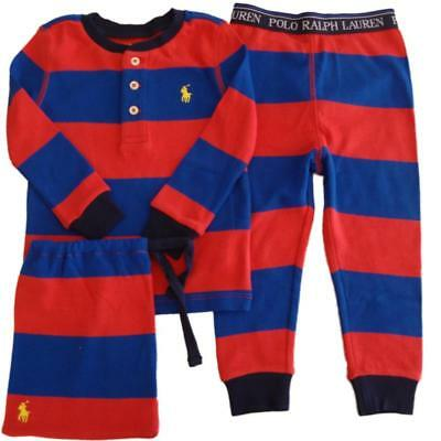 Authentic Ralph Lauren Polo baby boys pyjamas set sleepwear romper 9 12 18 24m