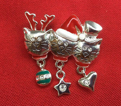 Coldwater Creek Silver Color Christmas Trio Kitty Pin/Brooch