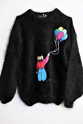VINTAGE GOLD LABEL CLOWN JUMPER 1990s BLACK MOHAIR MEGA HAIRY QUIRKY RARE 14 16