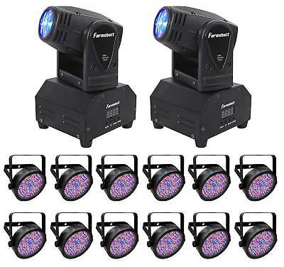 (12) Chauvet DJ SlimPAR 56 IRC IP DMX LED Par Can Wash Lights+(2) Moving Heads