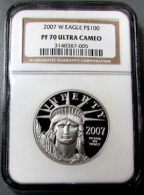 2007 W Platinum $100 Eagle 1 Oz Coin Perfect Ngc Proof 70 Ultra Cameo