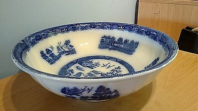 Antique Mintons Flow Blue Willow Pattern Large Washbowl. Excellent Condition