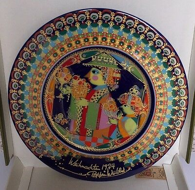 Vintage BJORN WINBLAD Rosenthal Boxed Porcelain Collectible Christmas Plate 1974