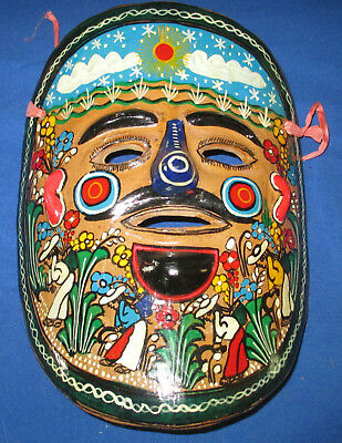 Vintage Mexico Hand painted clay mask  Halloween fun