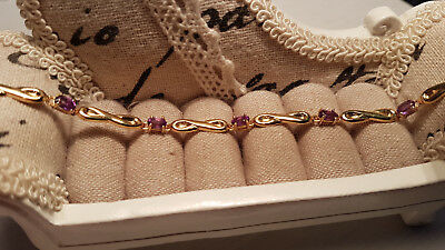 Brazilian Amethyst Bracelet in 14k gold over Sterling silver