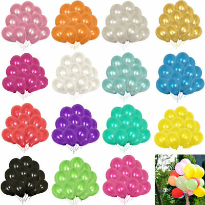 "100 PCS 10"" HELIUM Pearlised Latex Balloons Wedding Birthday Party CHRISTENING"