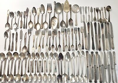 Silverplate Flatware Mixed Lot of 105 Forks Spoons Knives Serving Crafts Resale