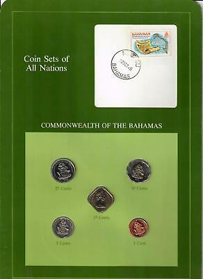 1969-1985 Commonwealth Of The Bahamas Coin Sets Of All Nations (5) Coins