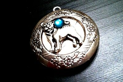 PUG DOG PHOTO LOCKET Pendant w Sterling Silver 925 Chain Necklace dog pet animal