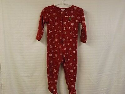 Tha Children's Place baby boys red winter themed snug fit sleeper w zipper size