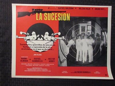 1980 LA SUCESION Foreign 16x12 Lobby Card FN/FN+ LOT of 8 Rafael Baledón w Dupes