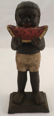 Black Americana Boy With Eating Watermelon Cast Iron Bank Antique Patina