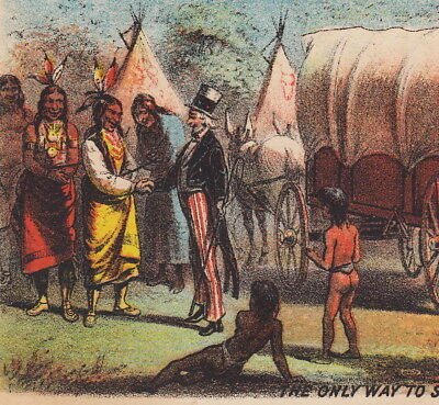 Antique Indian Uncle Sam Makes Peace Higgins Laundry Soap Brooklyn NY Trade Card