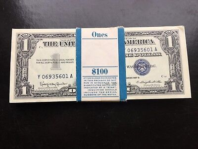 100 Gem Uncirculated Consecutive Series of 1957B $1 Silver Certificates