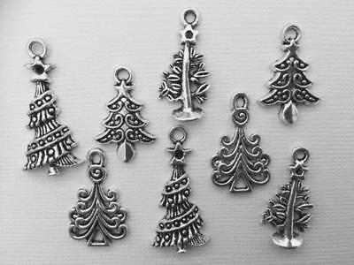 BB METAL CHARMS CHRISTMAS TREES  pk of 15 SILVER mix of 4 designs craft cards