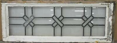"LARGE OLD ENGLISH LEADED STAINED GLASS WINDOW Simple Geometric 39.25"" x 14.5"""