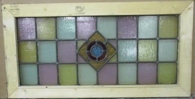 "LARGE OLD ENGLISH LEADED STAINED GLASS WINDOW Simple Geometric 34.75"" x 18"""