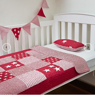 2 Pc Set Boys Stars & Stripes Red White Cot Bed Crib Quilt Coverlet Baby Blanket