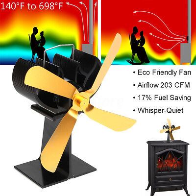 4 Blades Heat Powered Stove Fan For Wood Burner Fireplace Eco Friendly 203CFM